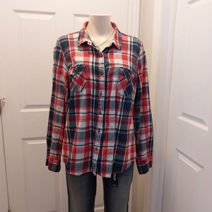 Womens North Face Plaid Button Shirt Size XL